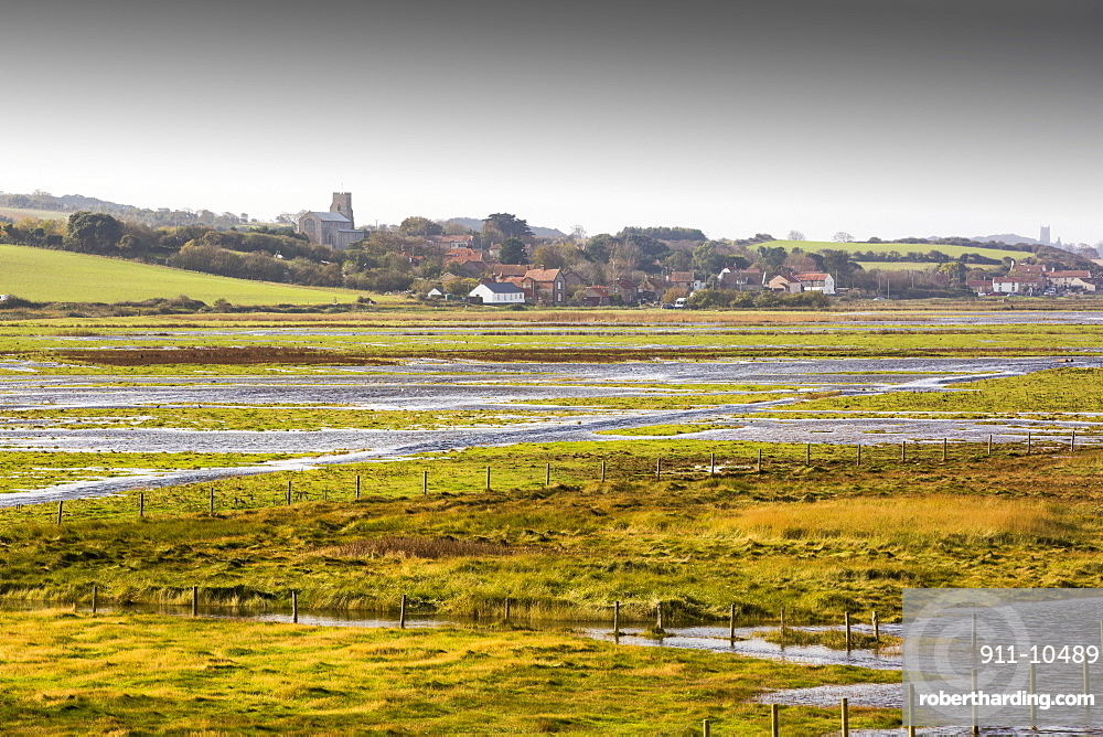 Coastal flooding on fields at salthouse on the North Norfolk coast, UK.