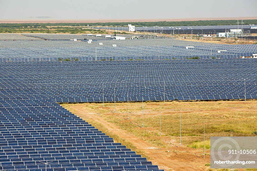 Asia's largest solar popwer station, the Gujarat Solar Park, in Gujarat, India. It has an installed capacity of 1000 MW