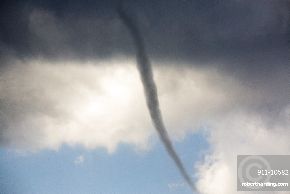 A tornado water spout casued by a severe thunder storm over Sivota, Greece,