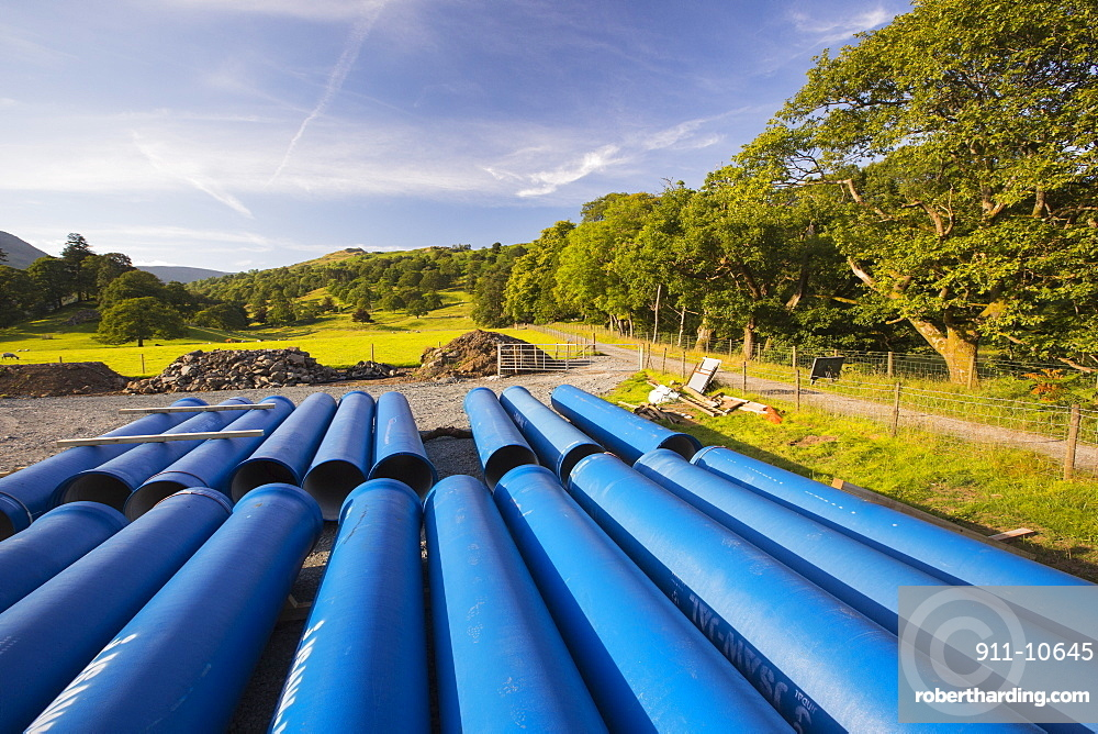 Hdro pipes for the New Rydal Hall Hydro electric scheme, Ambleside, Lake District, UK.