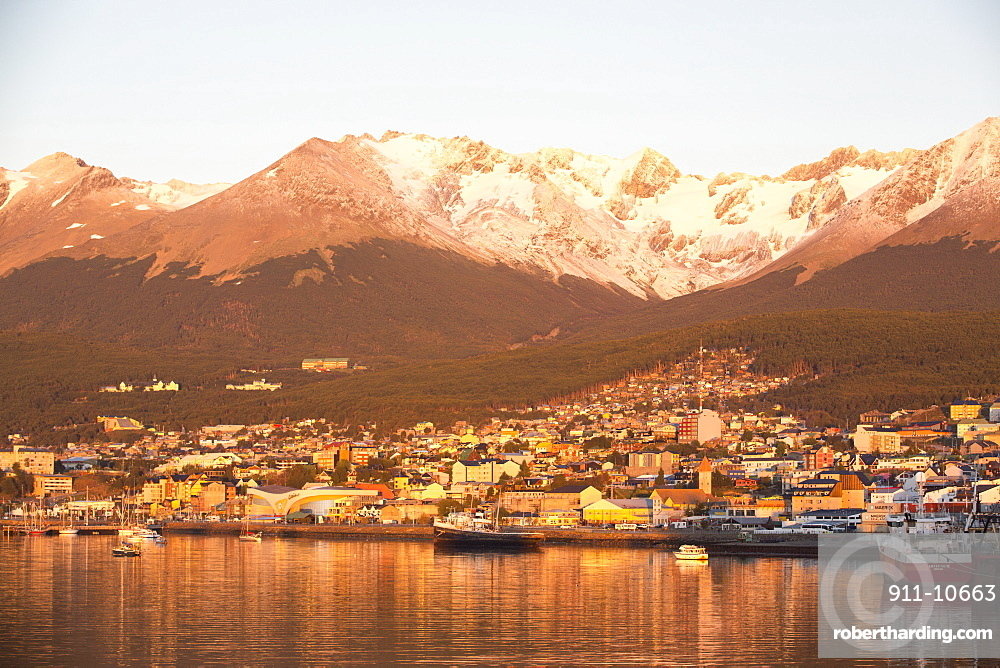 Sunrise over the town of Ushuaia which is the capital of Tierra del Fuego, in Argentina, it is the most southerly city in the world and the starting point for trips to Antarctica.