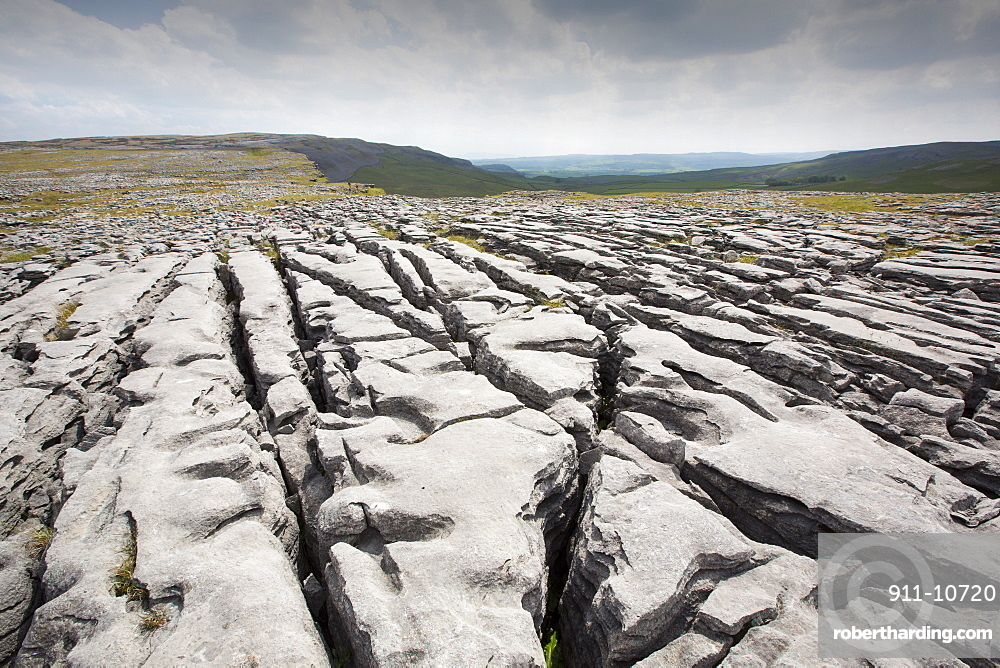 Limestone Pavement at Moughton above Helwith Bridge in the Yorkshire Dales, UK.