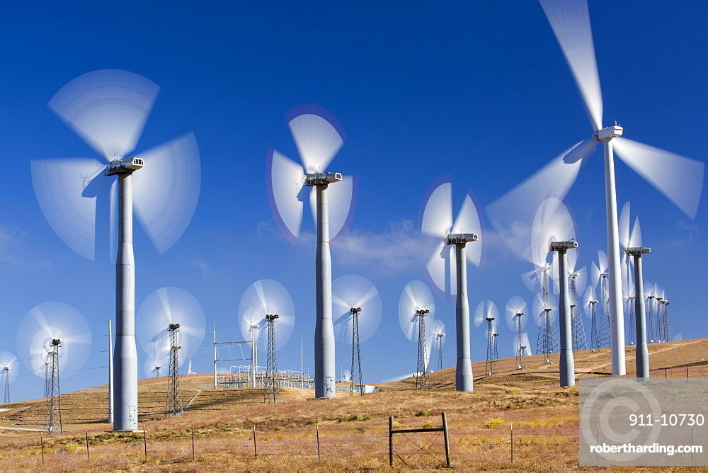 Part of the Tehachapi Pass wind farm, the first large scale wind farm area developed in the US, California, USA.