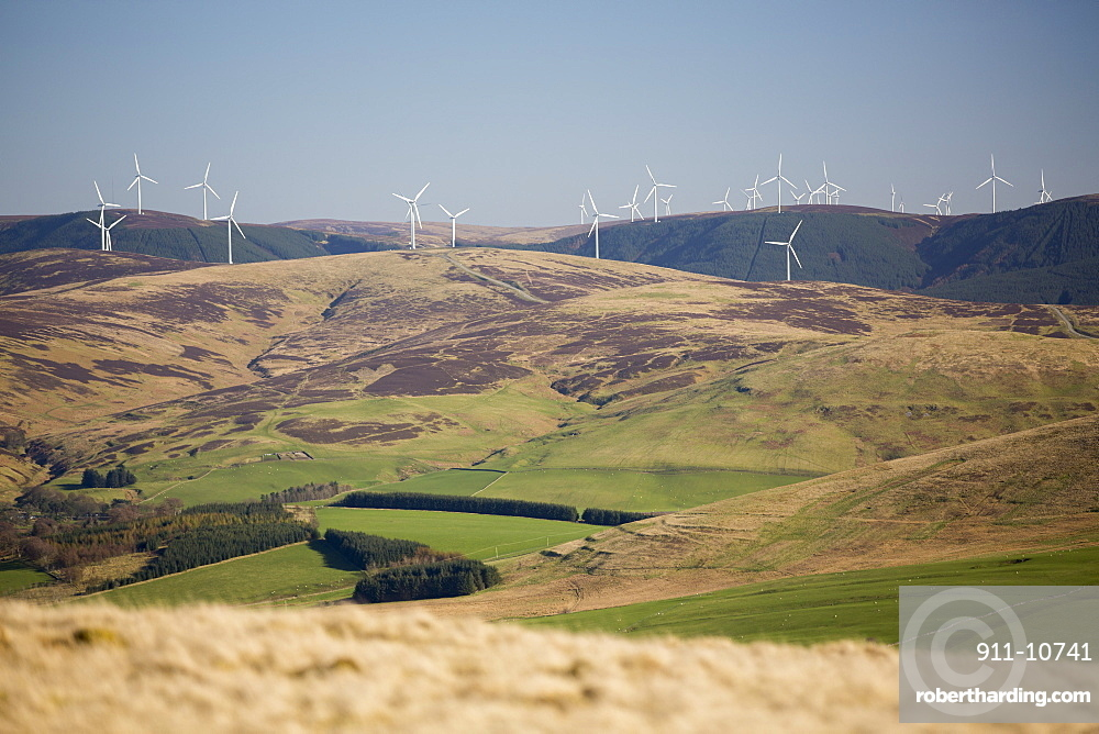 A Wind farm in the Southern uplands of Scotland near Biggar, viewed from Tinto Hill.