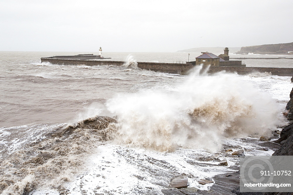 Whitehaven harbour during the January 2014 period of storm surge, high tides and storm force winds. The coastline took a battering, damaging the harbour wall and eroding a large section of coastal cliff.