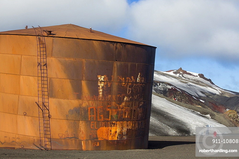 The old abandoned whaling station on Deception Island in the South Shetland Islands off the Antarctic Peninsular which is an active volcanic caldera.