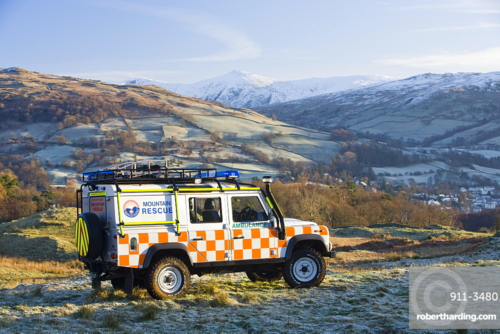 A Mountain Rescue Landrover above Ambleside in the Lake District, Cumbria, England, United Kingdom, Europe