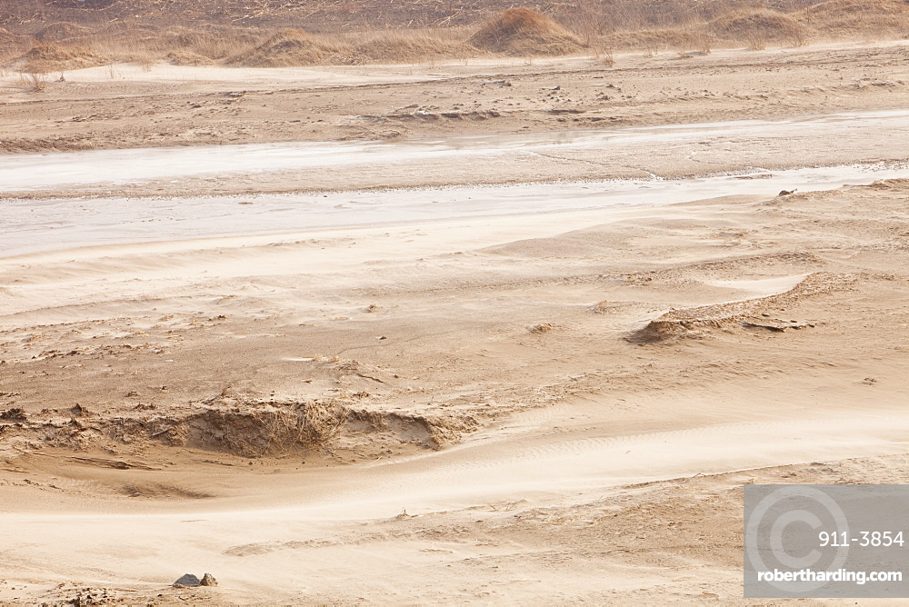 A river at a low level due to over-extraction, drought and climate change, just north of Beijing in Heilongjiang province, China, Asia