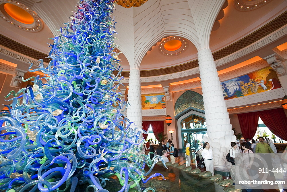 A massive glass art installation in the foyer of the hyper-luxurious Atlantis on the Palm hotel in Dubai, United Arab Emirates, Middle East