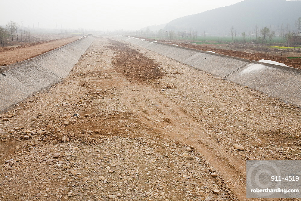 A completely dried up river in Shanxi province, China, Asia