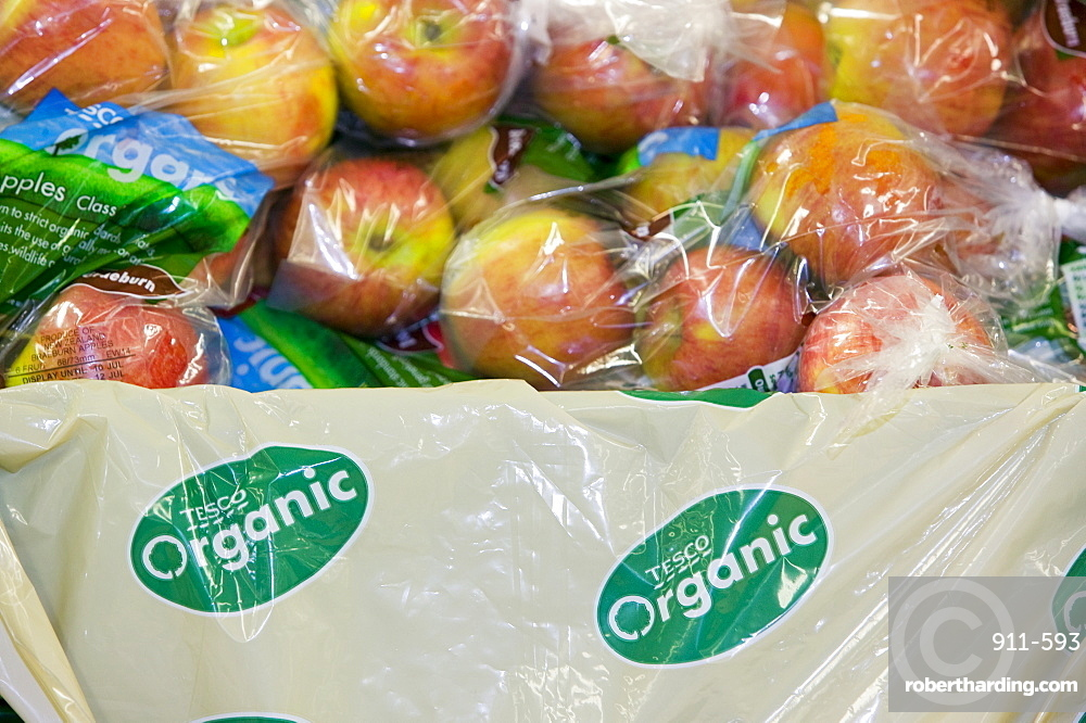 Organic apples for sale on supermarket shelves, Cumbria, England, United Kingdom, Europe