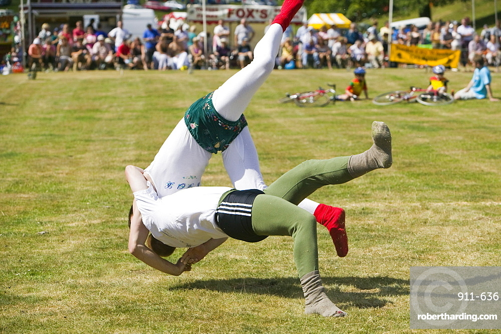 Cumberland Wrestling at Ambleside Sports, Lake District, Cumbria, England, United Kingdom, Europe