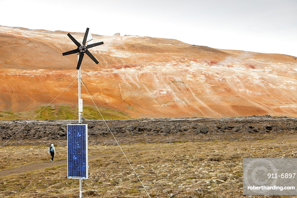 Three forms of renewable energy on one site, wind power, solar power and geothermal at a fresh lava flow that erupted during the Krafla fires at Leirhnjukur near Myvatn, during the 1970s and 80s, Iceland, Polar Regions