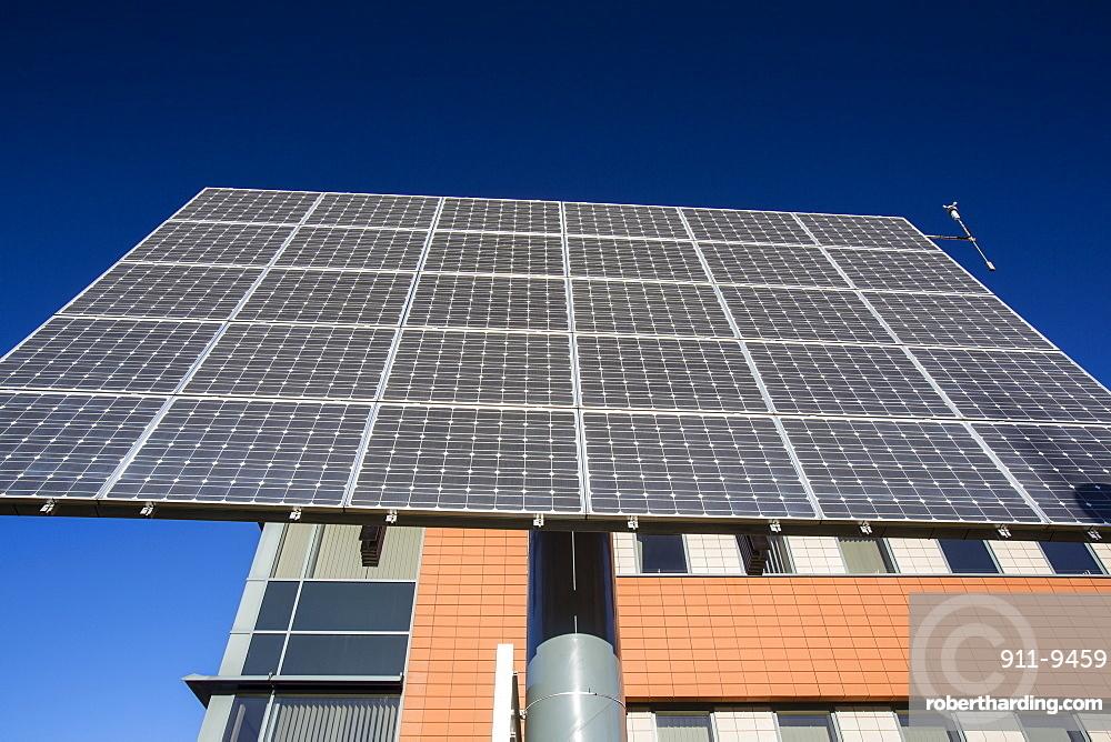 Tracking solar voltaic panels outside the University of Central Lancashire, Preston, Lancashire, England, United Kingdom, Europe