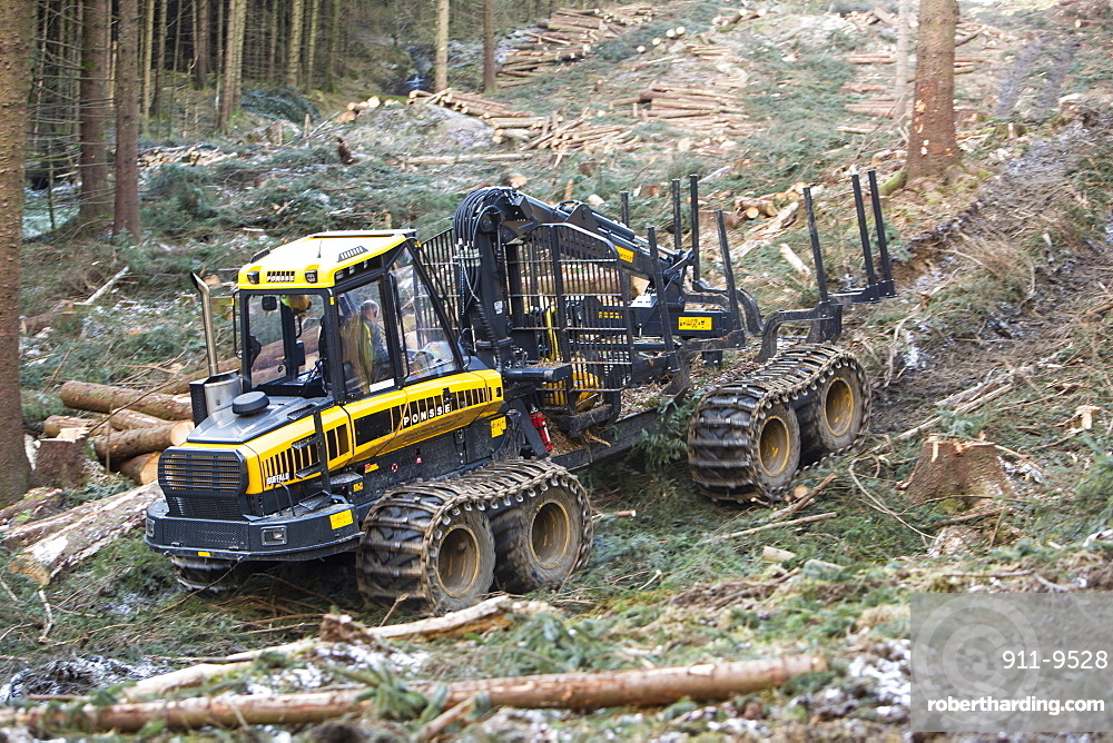 A forwarder, a specialist machine for cutting timber that is destined to be used as biofuel in a biofuel power station, Grizedale Forest, Lake District, Cumbria, England, United Kingdom, Europe