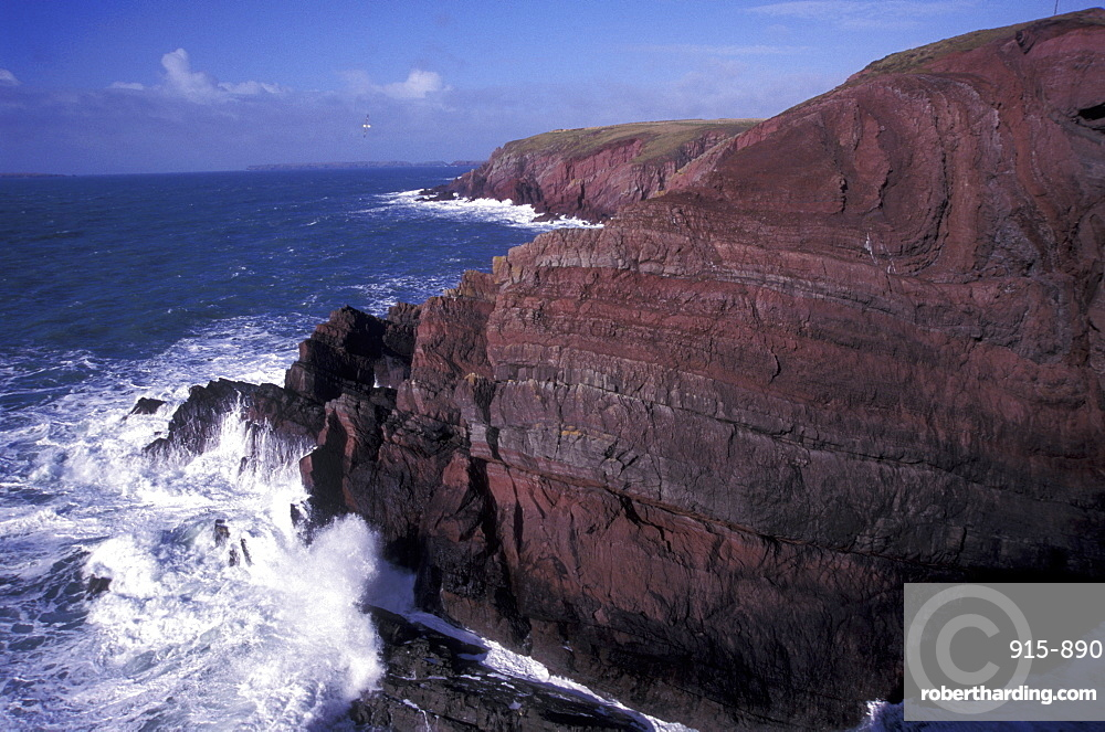Fold in Old Red Sandstone, St Anne's Head, Pembrokeshire, Wales, UK, Europe
