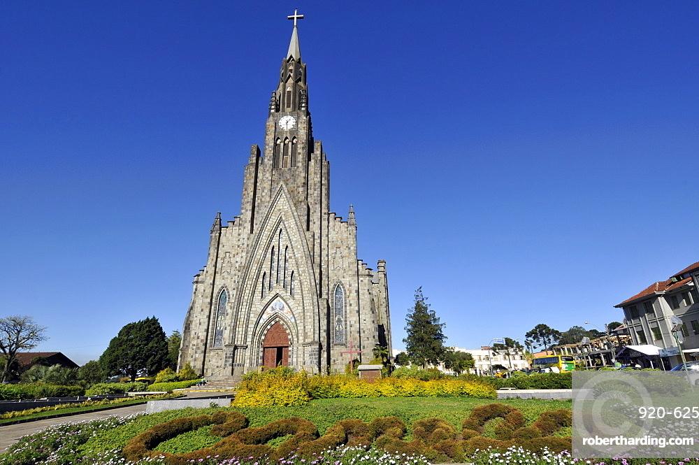Stone Cathedral (Igreja de Pedra) (Paroquia Nossa Senhora de Lourdes), the main church in Canela, Rio Grande so Sul, Brazil, South America