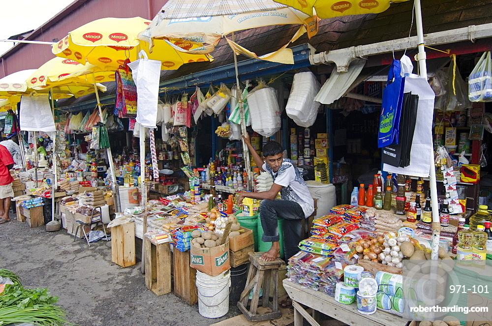 Grocery stalls in Stabroek Market, Georgetown, Guyana, South America