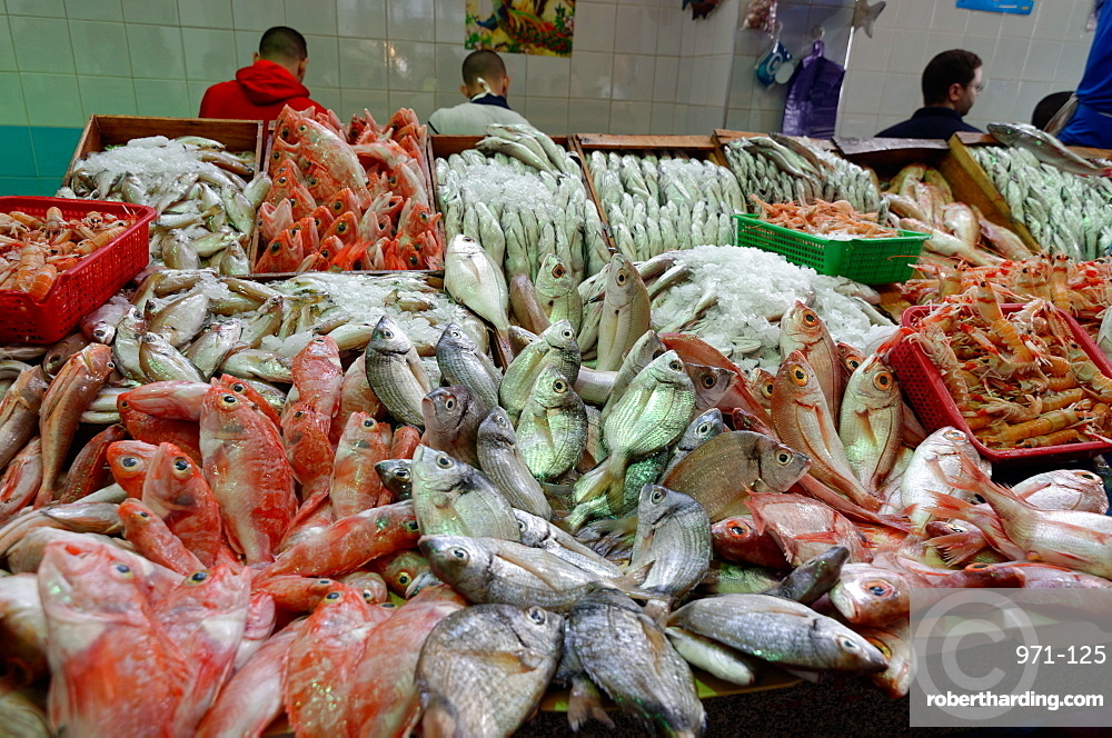 Freshly caught fish displayed in Tangier fish market, Tangier, Morocco, North Africa, Africa