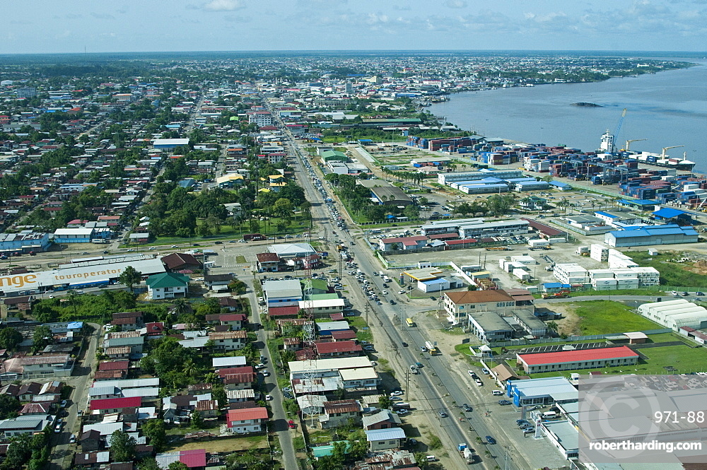Aerial view of Paramaribo and the Suriname River, Paramaribo, Suriname, South America