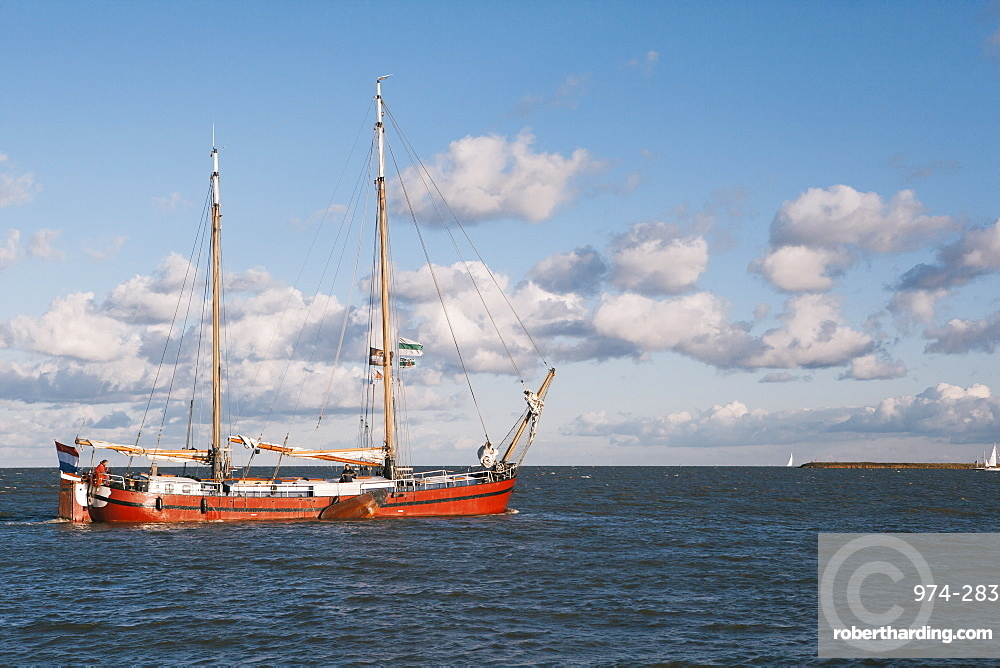 Traditional Dutch merchant ship on the IJselmeer lake, Volendam, North Holland Province, The Netherlands (Holland), Europe