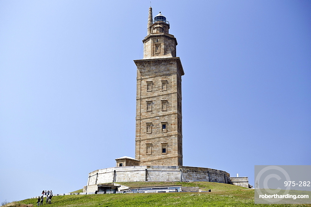 Hercules Tower, oldest Roman lighthouse in use today, UNESCO World Heritage Site, A Corun±a, Galicia, Spain, Europe