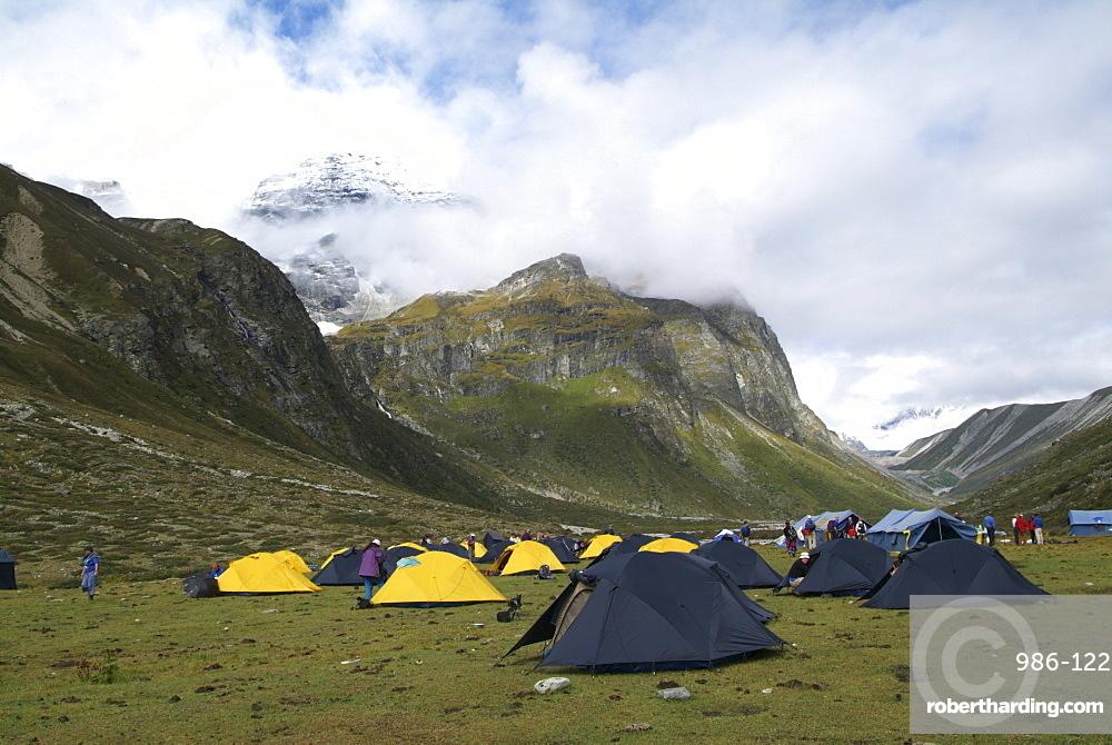 Mountain Campsite. Mountain and Clouds. Himalayas, Tibet.