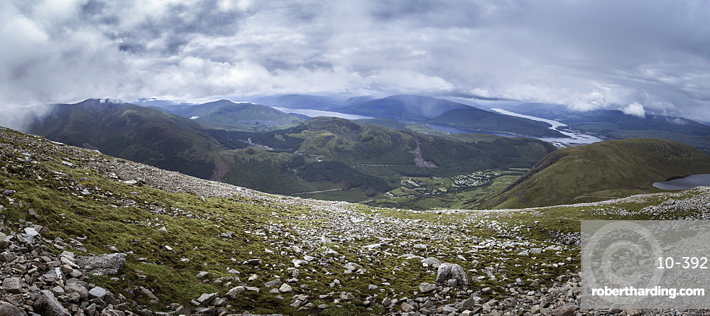 A view towards Glen Nevis from the Mountain Track (Tourist Route), Ben Nevis, Highlands, Scotland, United Kingdom, Europe