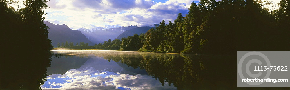 Panorama of Lake matheson with reflection of Mount Cook, West Coast, South Island, New Zealand
