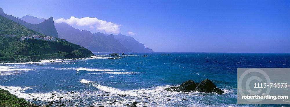 Taganana, village, Macizo de Anaga, Anaga Mountains and cliffs, coastline, Tenerife, Canary Islands, Atlantic Ocean, Spain