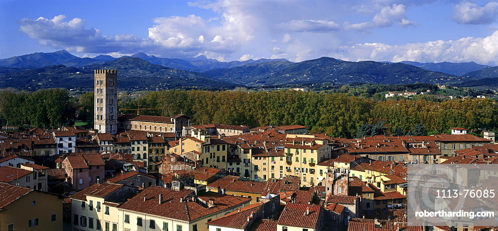 City overview with church San Frediano and Piazza, Lucca, Tuscany, Italy