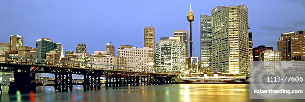 Austalia, sydney, Darling harbour, Panorama at twilight