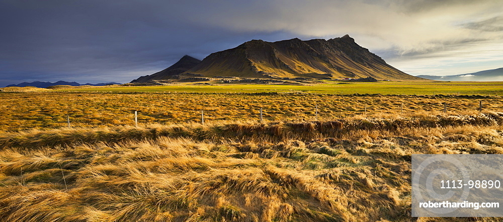 Fields and medows in front of Akrafjall, West Iceland, Iceland