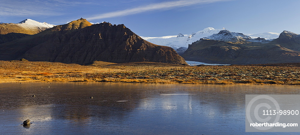Frozen pond near Freysnes, Svinafellsjokull, Oraefajokull, East Iceland, Iceland