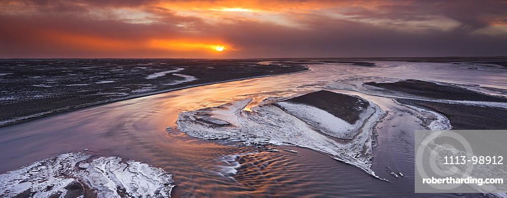 Sunrise over the Skeidarsandur, Nupsvotn, South Iceland, Iceland