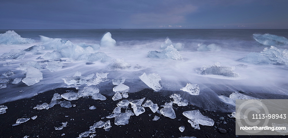 Icebergs on the beach in the glacial lake, Jokulsarlon, East Iceland, Iceland