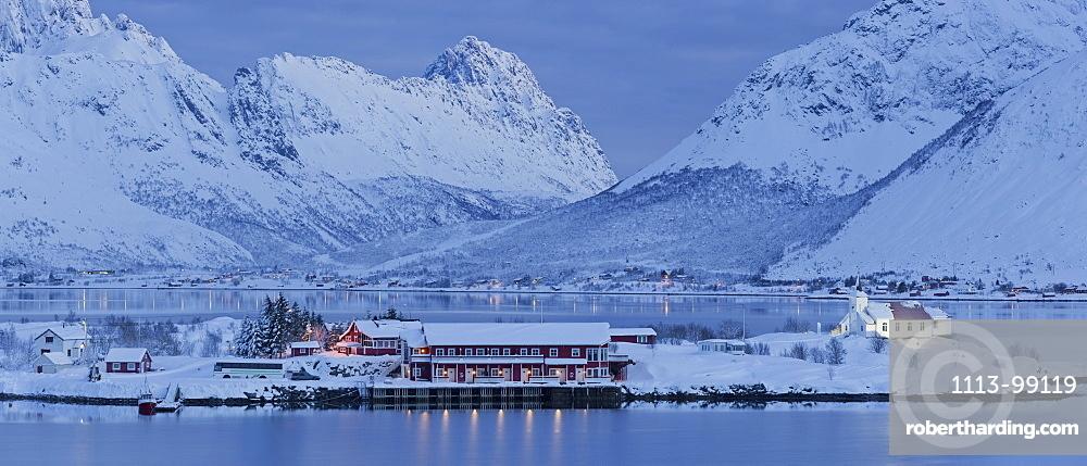 Church in Sildpollneset, Vestpollen, Austnesfjorden, Austvagoya, Lofoten, Nordland, Norway