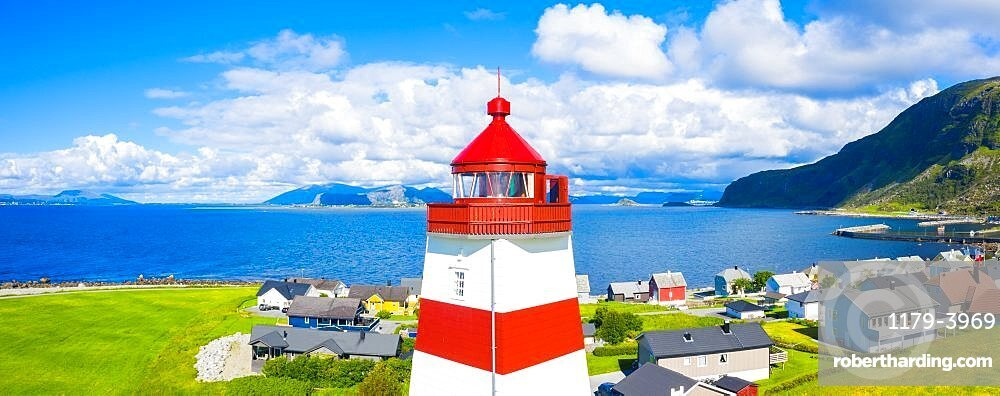 Aerial panoramic of high section of Alnes Lighthouse, Godoya Island, Alesund, More og Romsdal County, Norway (drone)