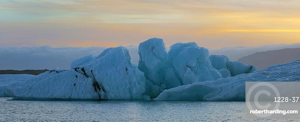 Sunset over Jokulsarlon Glacier Lagoon, Iceland, Polar Regions