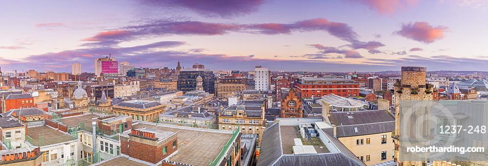 Panoramic view of Glasgow, Scotland, United Kingdom, Europe