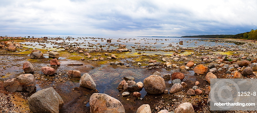 Baltic Sea coast with granite boulders on a cloudy day, Estonia, Europe