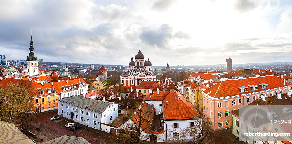 Toompea hill with Russian Orthodox Alexander Nevsky Cathedral, Niguliste church and Pikk Herman tower, Tallinn, Estonia, Europe