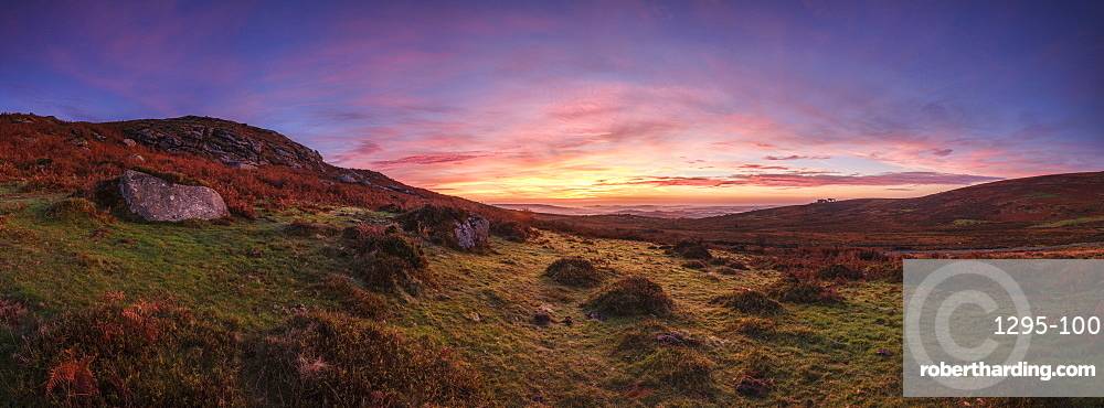 Twilight panorama of slopes below Saddle Tor with mist in the Teign Valley, Dartmoor National Park, Bovey Tracey, Devon, England, United Kingdom, Europe