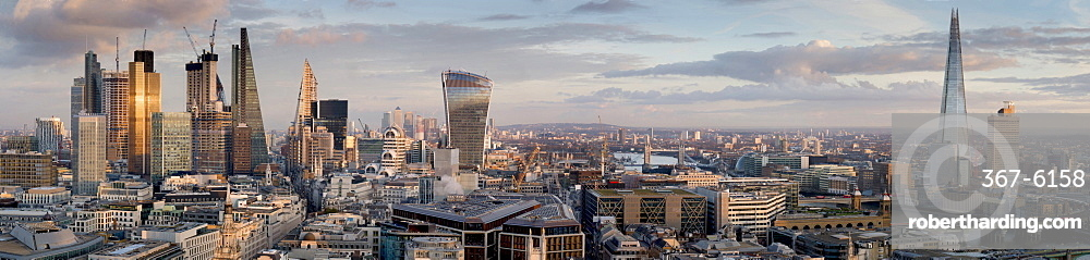 City panorama from St. Pauls, City of London, London, England, United Kingdom, Europe