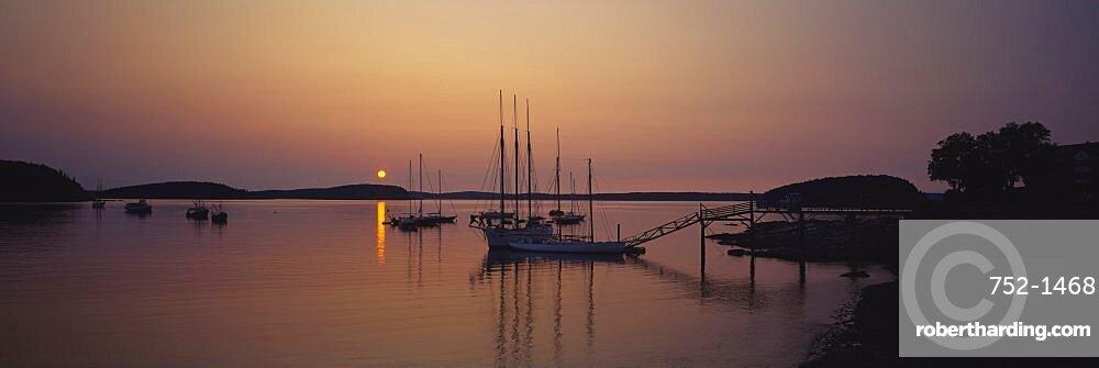 Sailboat in the sea, Bar Harbor, Mt. Desert Island, Maine, USA