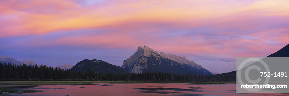 Silhouette of mountains on a landscape, Mount Rundle, Vermillion Lake, Banff, Alberta, Canada.