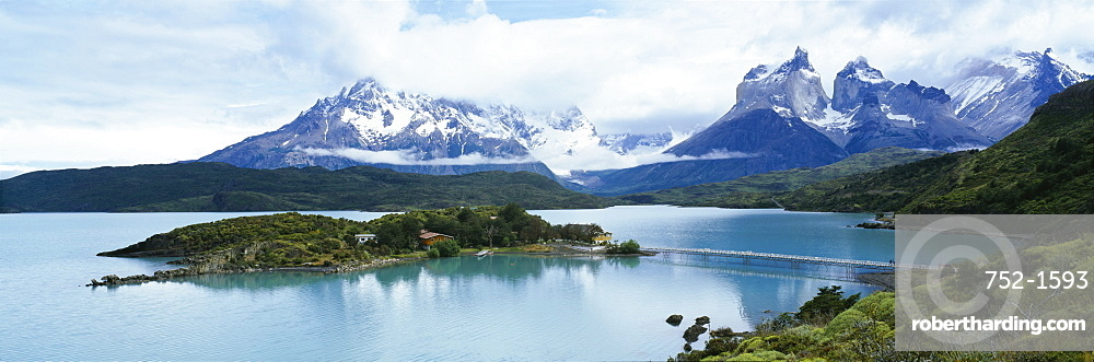 Island in a lake, Lake Pehoe, Hosteria Pehoe, Cuernos Del Paine, Torres del Paine National Park, Patagonia, Chile