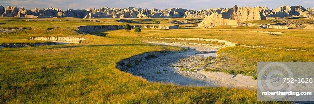 Rock formations on a landscape, Palmer Creek, Badlands National Park, South Dakota, USA