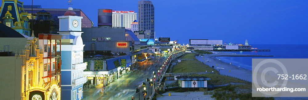 High angle view of a city street lit up at night, Atlantic City, New Jersey, USA