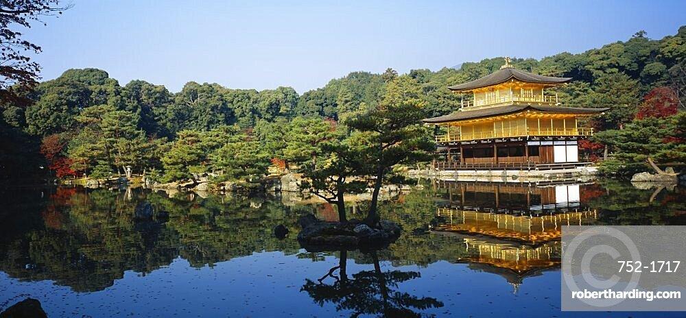 Reflection of a temple in a pond, Kinkaku-Ji Temple, Kyoto City, Kyoto Prefecture, Kinki Region, Japan